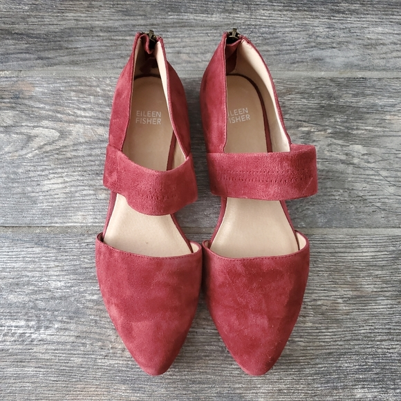 Eileen Fisher Hall Pointed Toe Burgundy Suede Flat